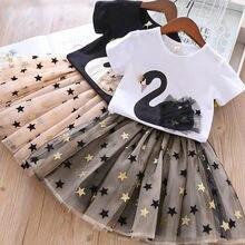 Girls Clothing Sets 2021 Summer Party Princess Dress Girls Short Sleeve T-shirt+Mesh Tutu Skirts 2Pc Dress Girl Bling Star Print