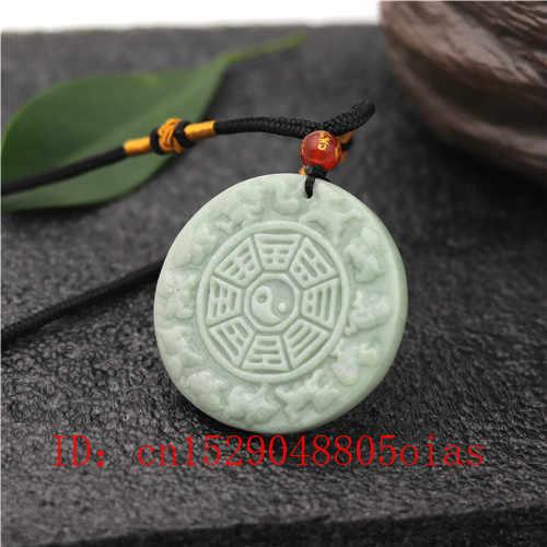 Natural blanco verde chino Zodíaco Jade Tai Chi chisme colgante collar moda encanto joyería amuleto grabado regalos para las mujeres