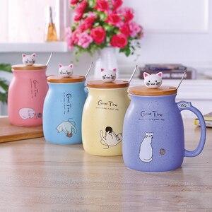 Ivyshion sésamo gato copo resistente ao calor dos desenhos animados caneca de cerâmica cor com tampa copo gatinho leite caneca de café crianças copo drinkware