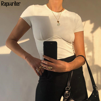 Rapwriter Casual Ribbed Crop Basic White T-Shirt Girl 2020 Summer Streetwear Crew neck Short Sleeve Stretch Tee Top feminina 1