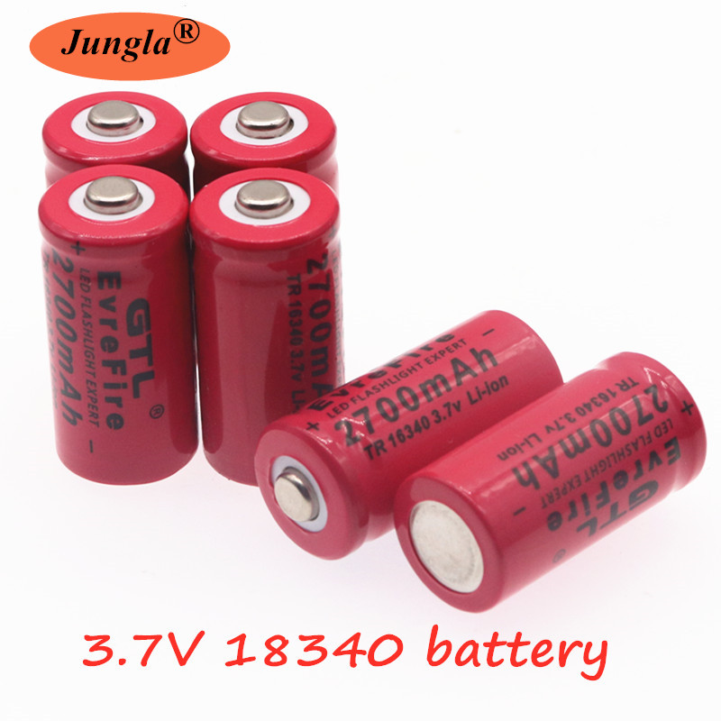 3.7V 2700mAh <font><b>16340</b></font> <font><b>Batteries</b></font> Rechargeable <font><b>Li</b></font>-<font><b>ion</b></font> <font><b>16340</b></font> <font><b>Battery</b></font> For Laser Pen LED Flashlight Rechargeable <font><b>16340</b></font> CR123A <font><b>Battery</b></font> image