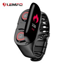 Lemfo M1 Terbaru Ai Smart Watch dengan Earphone Bluetooth Monitor Detak Jantung Smart Gelang Lama Waktu Siaga Jam Tangan Olahraga Pria(China)