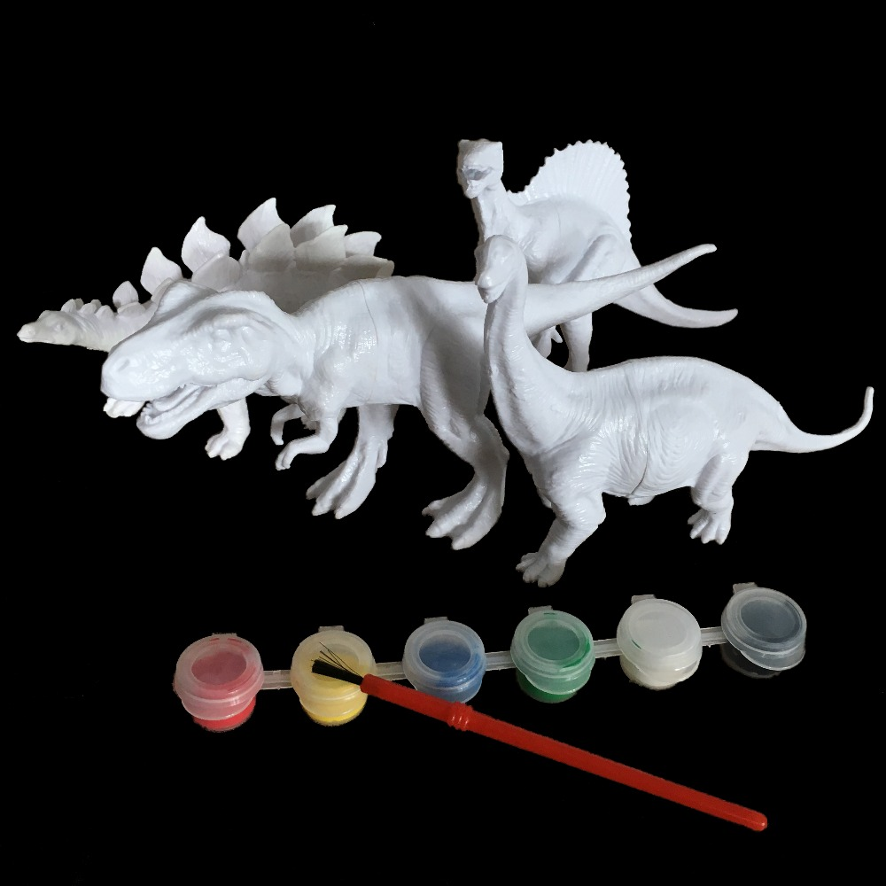 DIY Coloring Painting Animal Dinosaur Brachiosaurus Stegosaurus Tyrannosaurus Rex  Model Drawing Graffiti Kids Children Toys