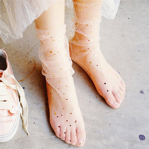 Image 2 - 春夏透明絹の靴下女性超薄型韓国スタイル靴下ファッションスパンコールピンクレースセクシーな圧着パイル靴下