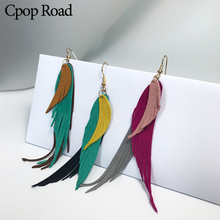 Cpop Angel Wing Three Layers Genuine Goat Leather Earrings Women Statement Tassel Fashion Jewelry Accessories
