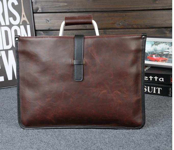 Retro Trendy Men Dapper Briefcase Simple Graceful Business Handbag Casual Crossbody Shoulder Thin Leather Bag Bolso Hombre DF365