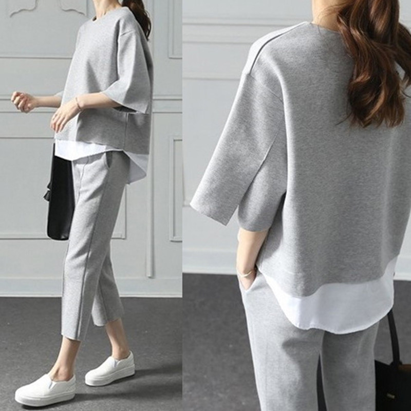 Fake Two Pieces Top Cotton Two Piece Suits Big Size Women Casual 3/4-length Pants Two-piece Set Loose Splits Sleeve Tracksuit