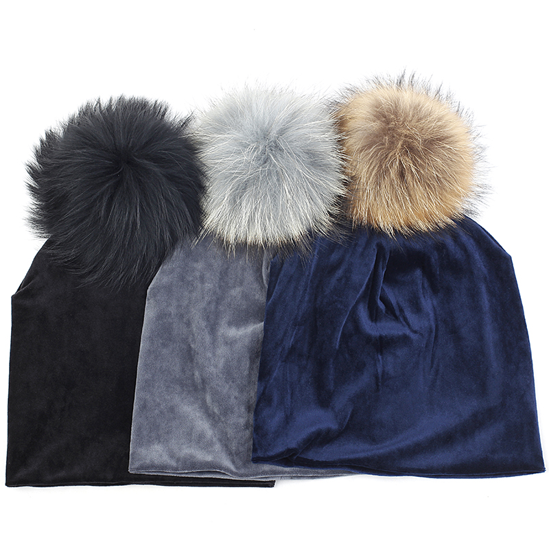 Women Beanie Hat Skull Autumn Winter Warm Hat Beanies Skull Cap With 15cm Real Fur Pompom Ball For Adult