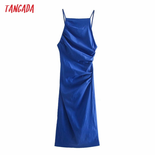 Tangada Fashion Blue Pleated Party Dresses For Women 2021 Backless Female Cotton Dress 3H600 1