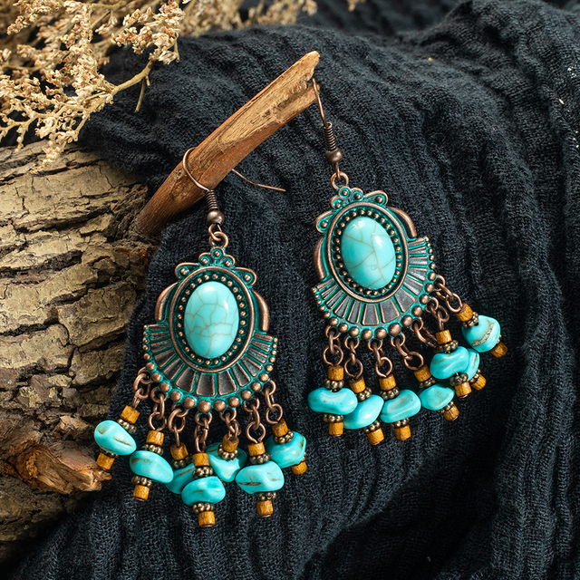 Ethnic Boho Tassel Long Drop Earrings