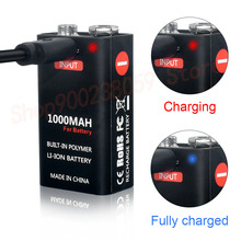 USB 9 Volt li-ion Rechargeable Battery 6F22 9V Li ion Lithium Battery for RC Helicopter Model Microphone Smoke metal detector