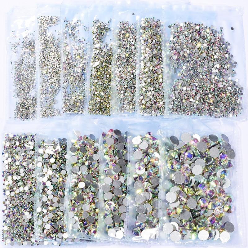 Super Glitter Rhinestones Crystal Clear ss3 ss50 Non HotFix FlatBack Glass Nail...