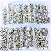 Nail-Art Rhinestones Glass Crystal-Clear Flatback Non-Hotfix Super-Glitter Shiny 1440pc/Bag
