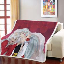 Шерпа флис пледы одеяло inuyasha аниме теплое для девочек мальчиков