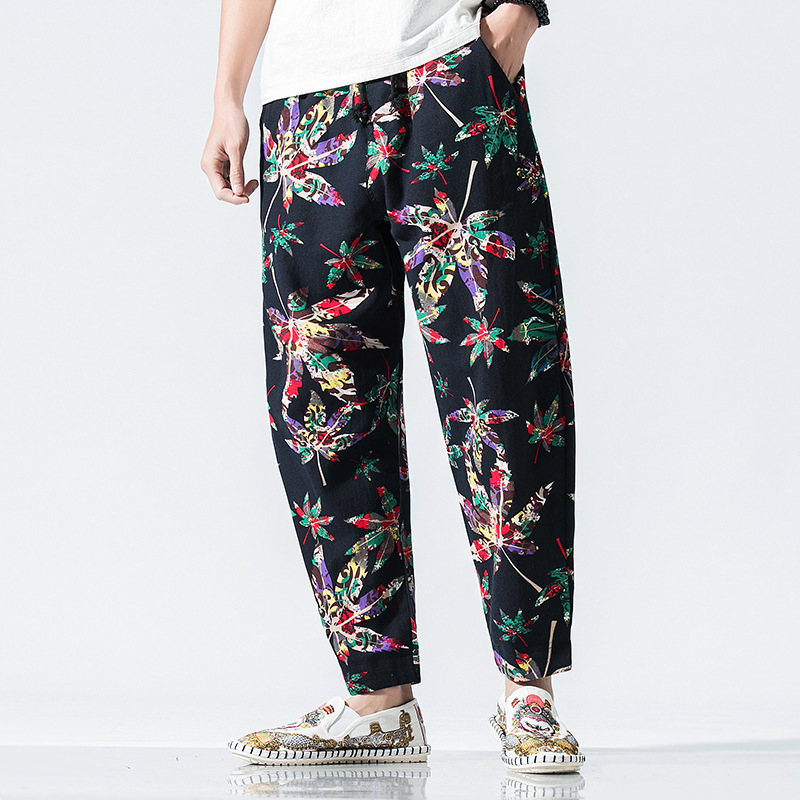 Linen Trousers Harem-Pants Waist Thin Elastic Floral-Printed Loose Summer Casual Retro
