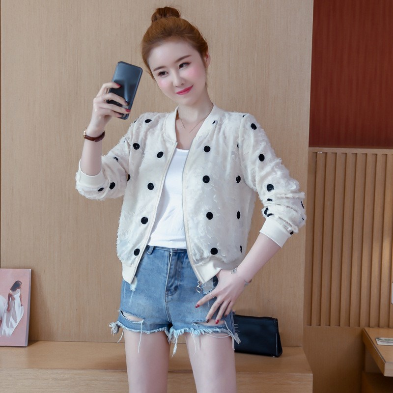 2019 Korean Slim Baseball Short Jacket Summer Casual White Thin Women's Bomber Jacket Polka Dot Dot Sunscreen Cardigan Jacket 38