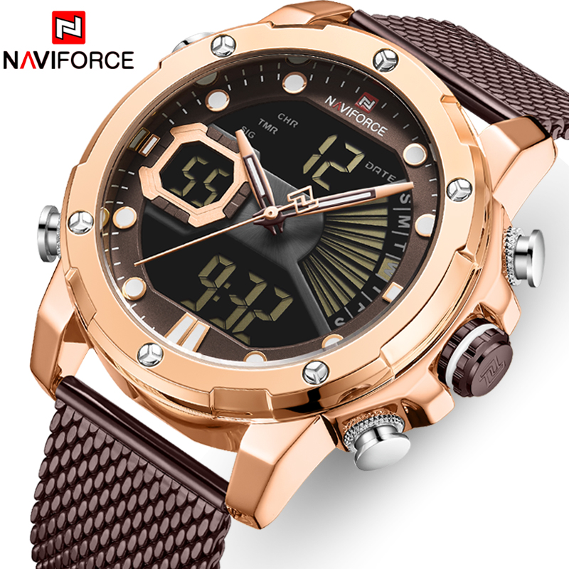 NAVIFORCE Men Watch Top Luxury Brand Military Quartz Men's Watches Waterproof Stainless Steel Sport Male Clock Luminous Pointers