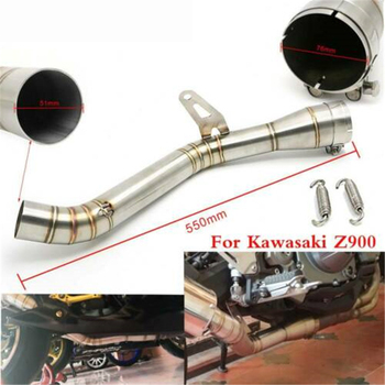51mm Stainless Steel Motorcycle Full Exhaust Middle Pipe Contact Mid Link Pipe For Kawasaki Z900 Ninja 900 Z 900 Muffler Slip On