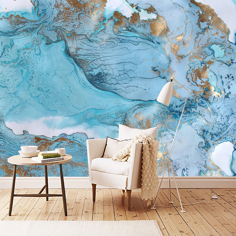 Photo Wallpaper Modern Abstract Oil Paintings 3D Blue Landscape Clouds And Mist Splash Ink Murals Living Room TV Sofa Wallpapers