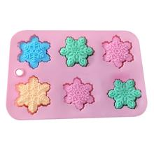 3D Snowflake Chocolate Silicone Crafts Molds Fondant Cake Mold Ice Cube Candy Pastry Mould Biscuits Baking Cake Decoration Tools цена