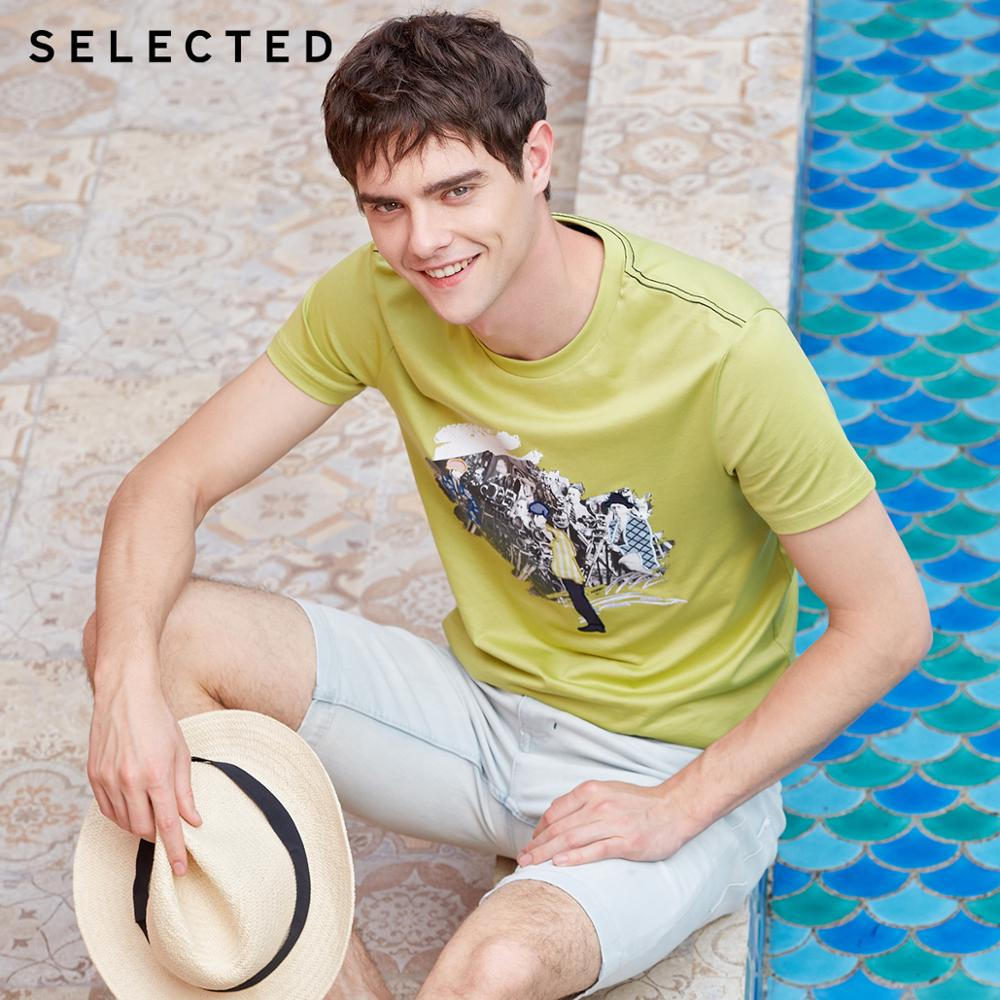 SELECTED Men's 100% Cotton Printed Short-sleeved Summer Embroidered Casual T-shirt S | 419201511