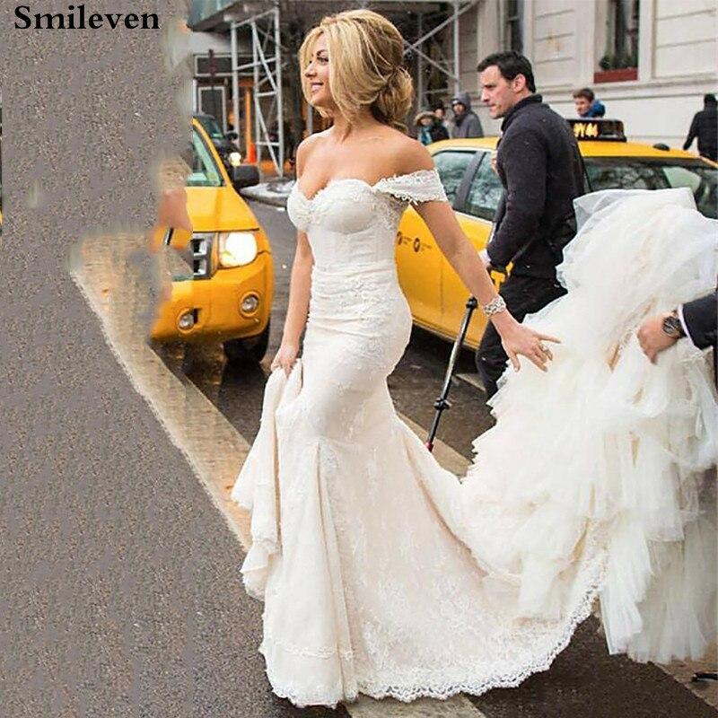 Smileven Lace Mermaid Wedding Dress Off The Shoulder Bridal Dresses Princess Vestido De Noiva  Boho Wedding Gowns