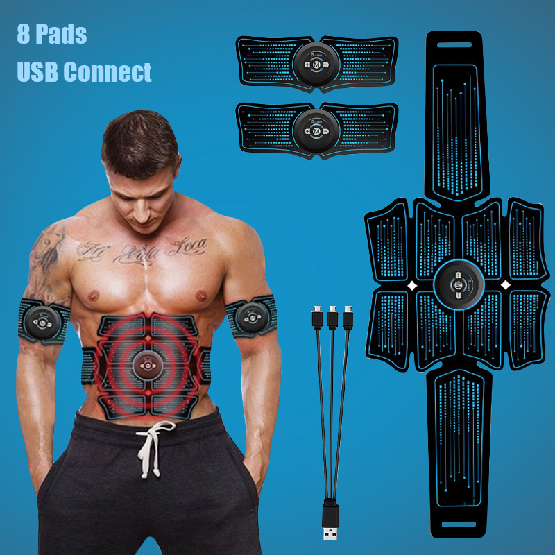 EMS Abdominal Muscle Stimulator Trainer USB Connect Abs Fitness Equipment Training Gear Muscles Electrostimulator Toner Massage