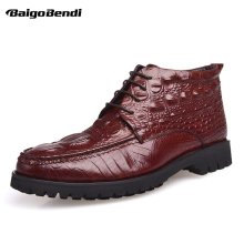 US6-10 Crocodile Grain Round Toe Boots Men Full Leather Lace Up Office Shoes Retro Winter Man Formal Dress Ankle
