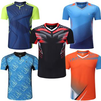 Nowe koszule do badmintona mężczyźni sportowa koszula koszule tenisowe męskie koszulka do tenisa stołowego koszulki sportowe Quick dry Fitness tanie i dobre opinie ZISURON Poliester Krótki Dzianiny more Pasuje prawda na wymiar weź swój normalny rozmiar Przeciwzmarszczkowy Oddychająca