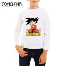 Dragon ball crianças tshirt 2019 primavera e outono causul 2 12 anos animação manga longa crianças impresso dos desenhos animados topos coyichenol