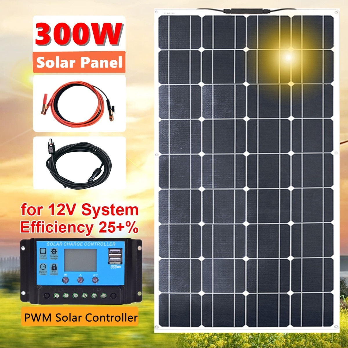 New 300W 18V Flexible Solar Panel Module Optional Controller Module Car RV Boat Home Roof Vans Camping SUV For 12V Solar Charger