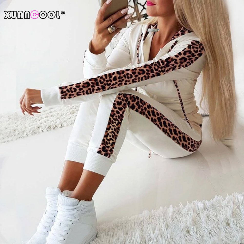 XUANSHOW Fashion Women Tracksuit Long Pant Suit Set Autumn Winter Leopard Print Pocket Zipper Fleece Hoodies Coat 2 Piece S-XXL