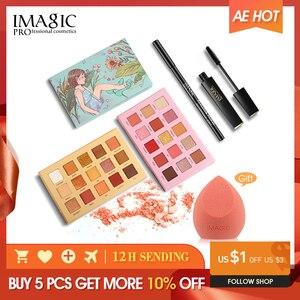 Image 1 - IMAGIC 6pcs combination 15 color eye shadow eyeliner pen 4D fiber thick curl eyelashes gift puff