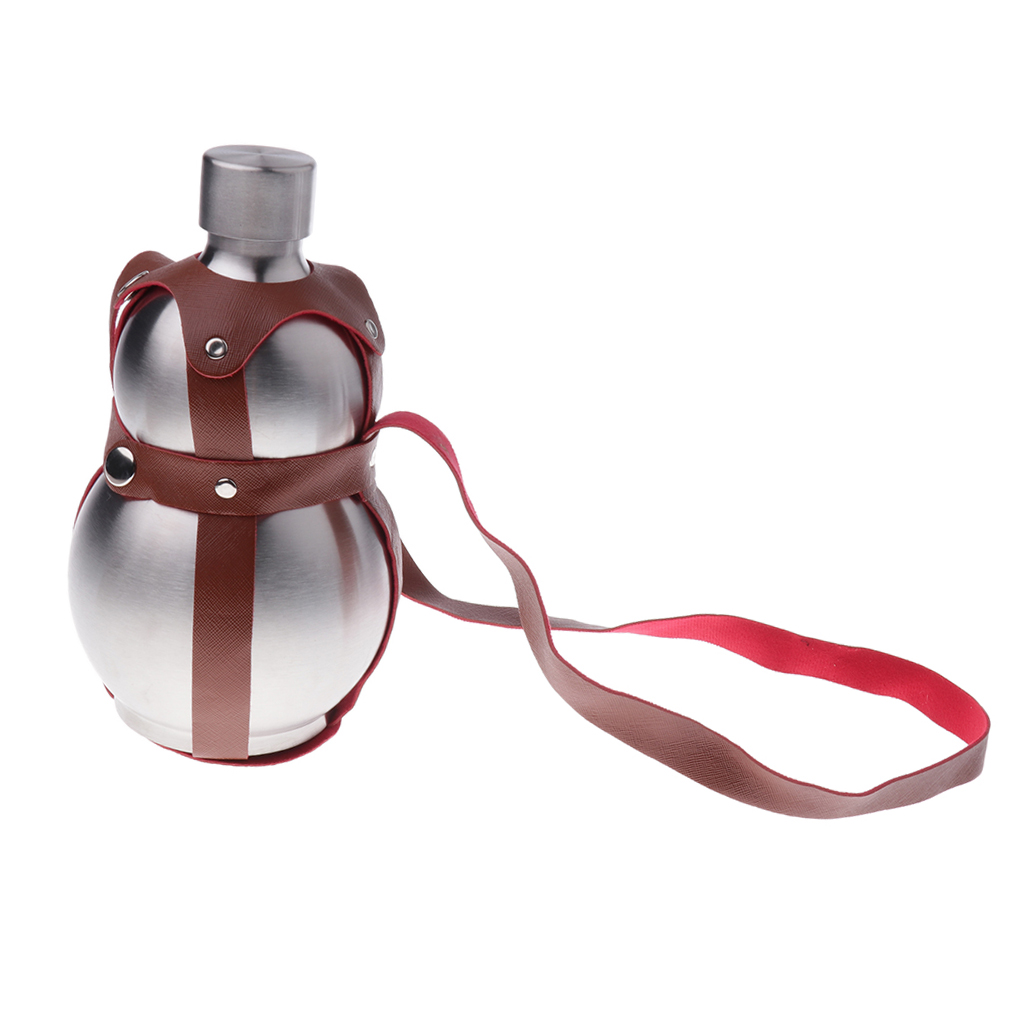 64oz Stainless Steel Silver Gourd Wine Whiskey Flask Bottle Flagon Kettle