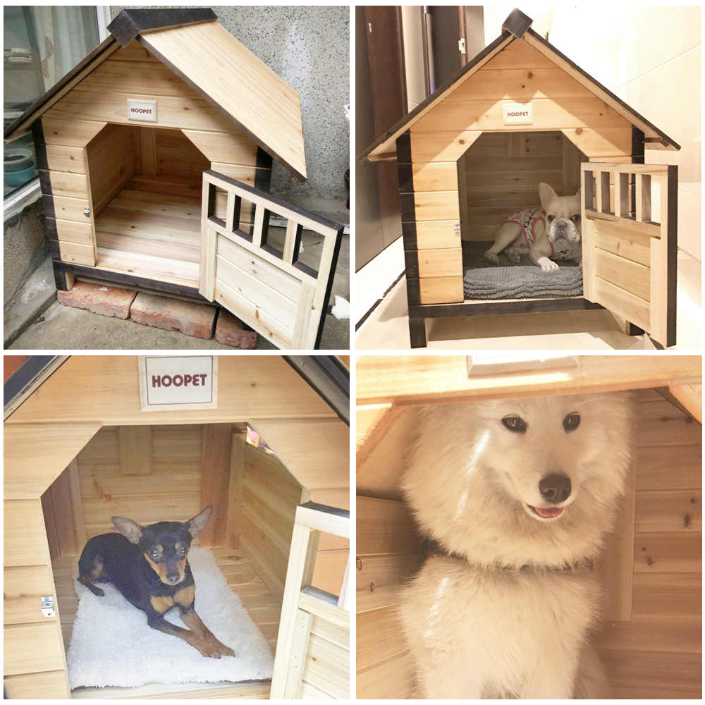 PovKeever Large Dog Kennel Solid Wooden Outdoor//Indoor Dog//Pet House Garden Crate with Removable Floor and Openable Slanted Roof For Easy Cleaning Weatherproof Asphalt