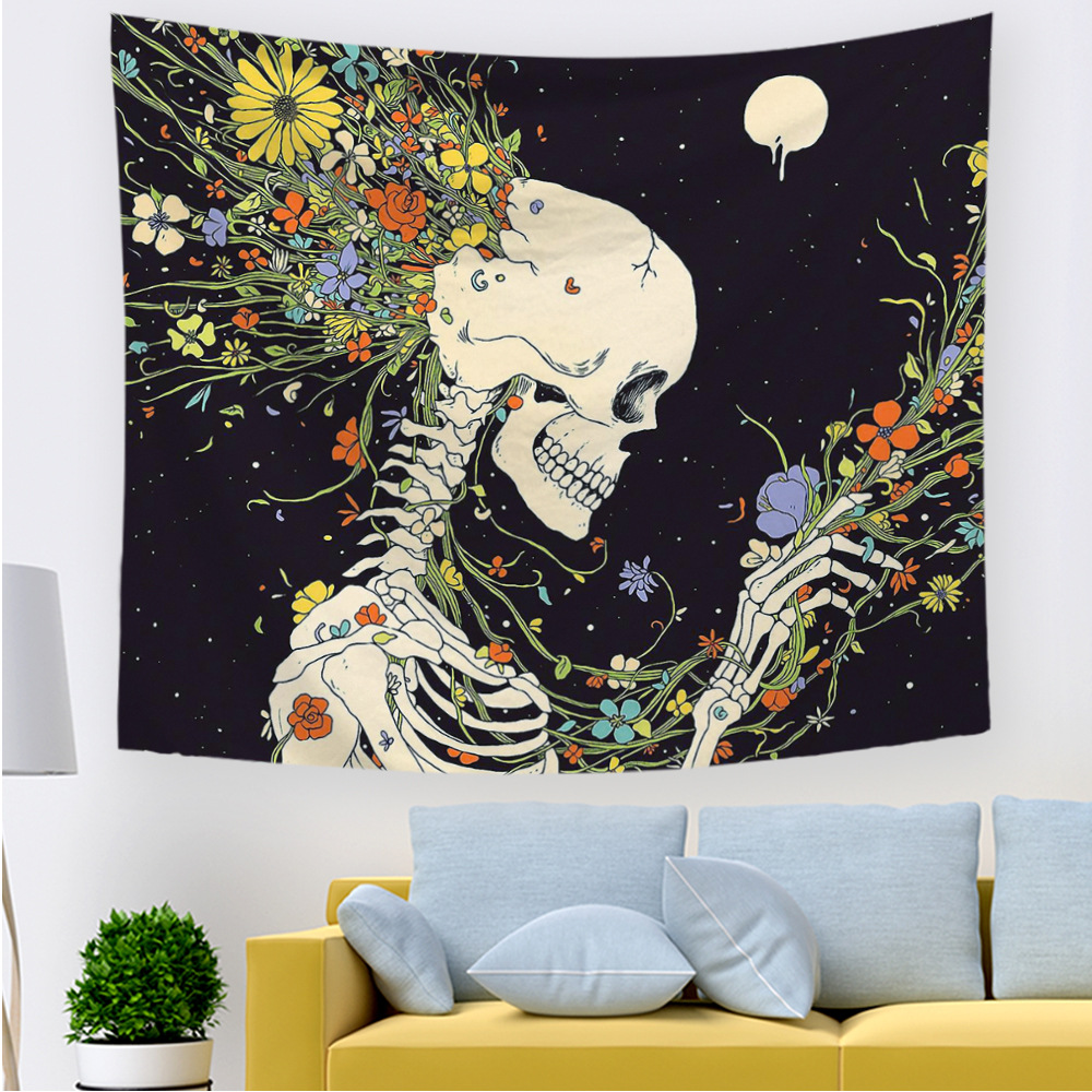Wall Hanging Skull Polyester Tapestry for Living Room Decoration Floral Skull Print Tapestries For Home Wall