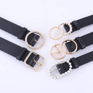 Waistband Decorative New-Fashion Belt Jeans Pearl-Buckle Women's Jacket Autumn Pu 012