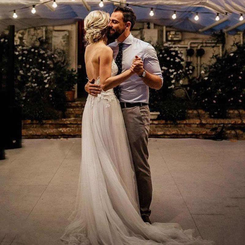 Lorie boho vestido de casamento 2019 apliqued com flores tule a linha sexy sem encosto praia vestido de noiva vestido de casamento frete grátis