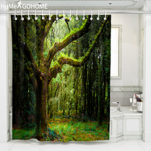 Forest Trees Green Shower Curtain 3D Bathroom Shower Curtain Waterproof Mildewproof Bath Decor Cortina de bano180x220cm 240cm