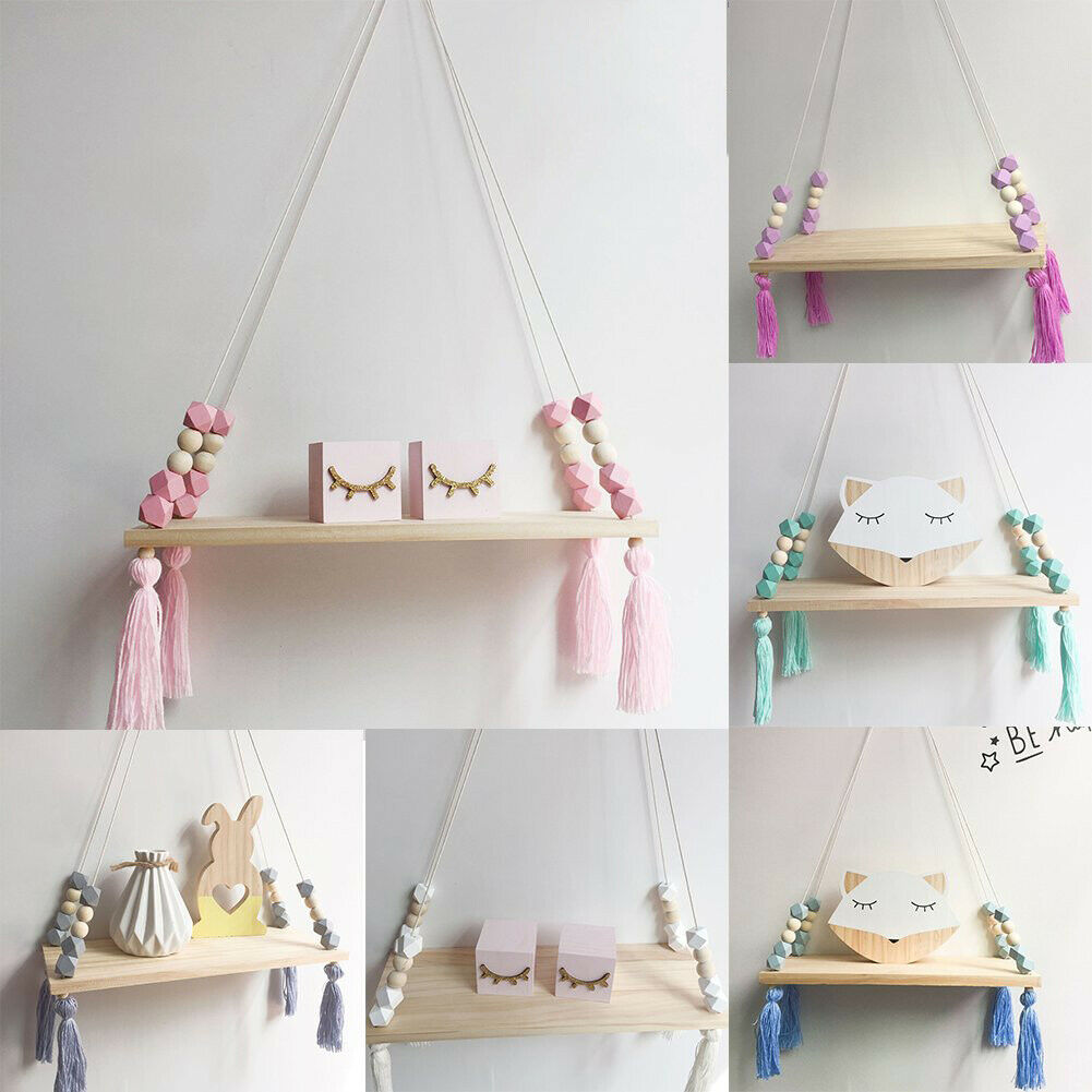 Home Nordic Style Storage Rack INS Wall Shelves Wall Decor Wooden Beads Tassel Storage Swing Shelf Kids Room Organizer For Toys