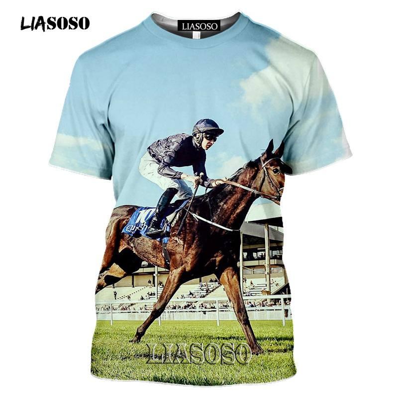 Tshirt Harajuku Horse-Racing Tee-Tops 3d-Print Sports Casual LIASOSO Pullover Streetwear