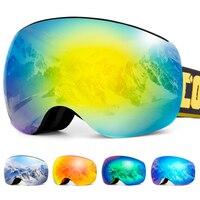 Cinta destacável magnético sem moldura óculos de esqui óculos de neve homem uv400 anti-nevoeiro snowboard esqui feminino óculos de sol esportes ao ar livre