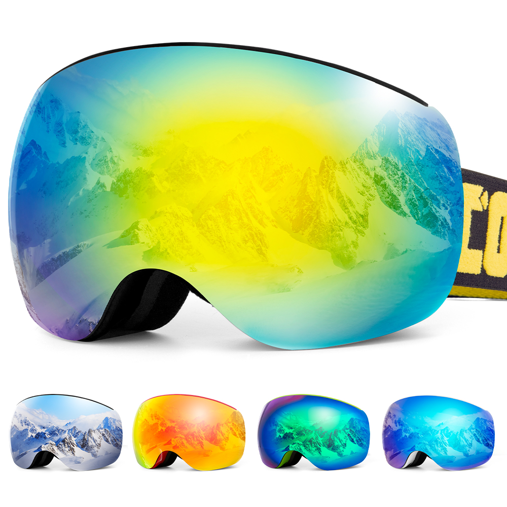 Detachable Strap Magnetic Frameless Ski Goggles Snow Glasses Men UV400 Anti-fog Snowboard Skiing Women Sunglasses Outdoor Sports