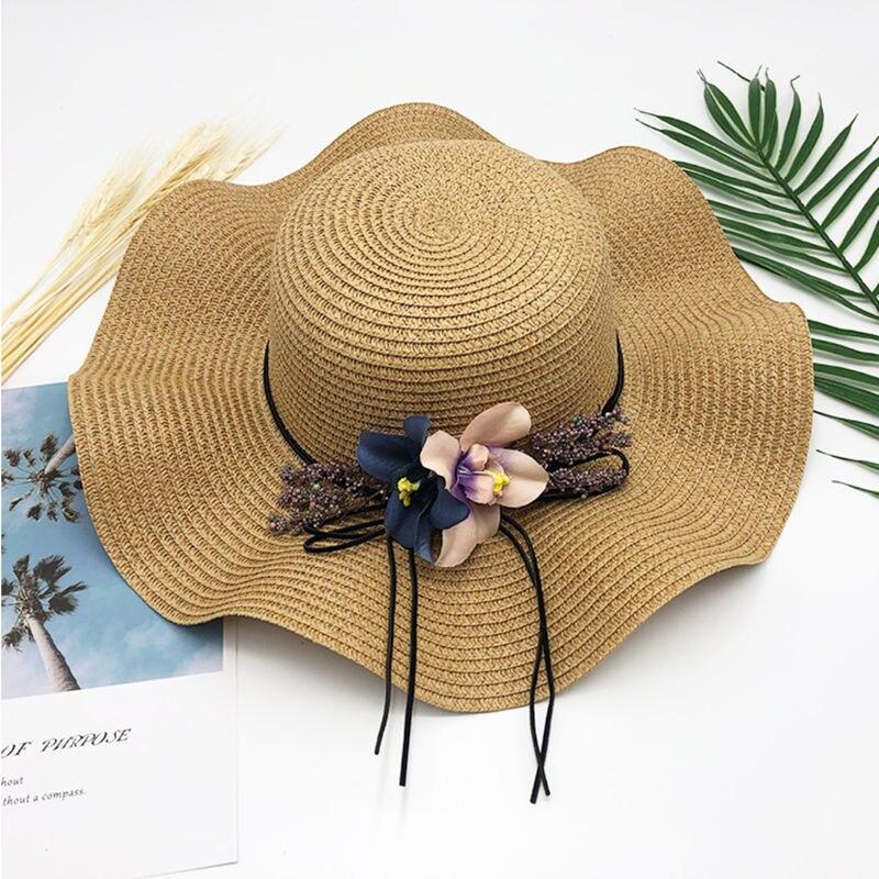 Новая гибкая складная женская Соломенная пляжная летняя шляпа бежевого цвета, один размер, широкая шляпа для путешествий, женская пляжная ш...