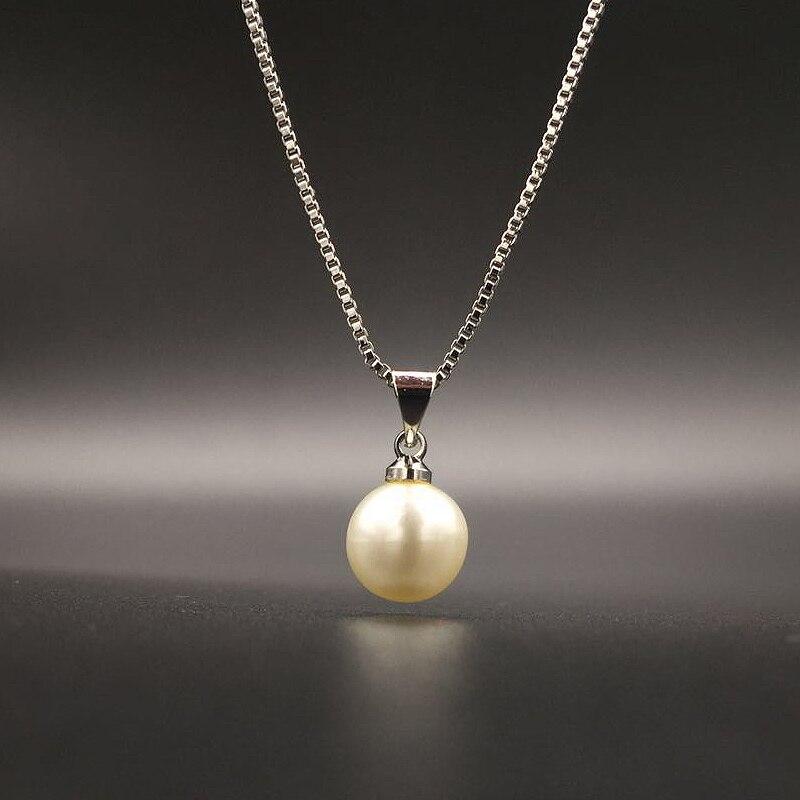HuiSept à la mode argent 925 perle pendentif collier bijoux pour les femmes de mariage fiançailles fête cadeau ornement en gros livraison directe 4