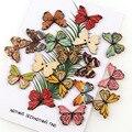 50 шт. в стиле ретро красочные деревянные пуговицы с бабочками для ткань ручная швейная Скрап одежда ремесла домашнего декора аксессуары кно...