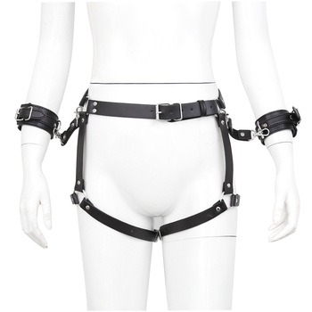 Bdsm Toys Pu Leather Handcuffs for Sex Belt Body Harness Men Women Slut Slave Hand Cuffs Bondage Bracelet Belts Gay Fetish Wear