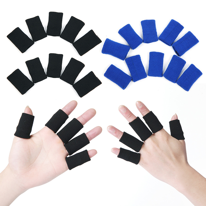 10 PCs Elastic Finger Sleeves Sport Support Brace Thumb Protector For Basketball Anti-slip Finger Protector Guard Support