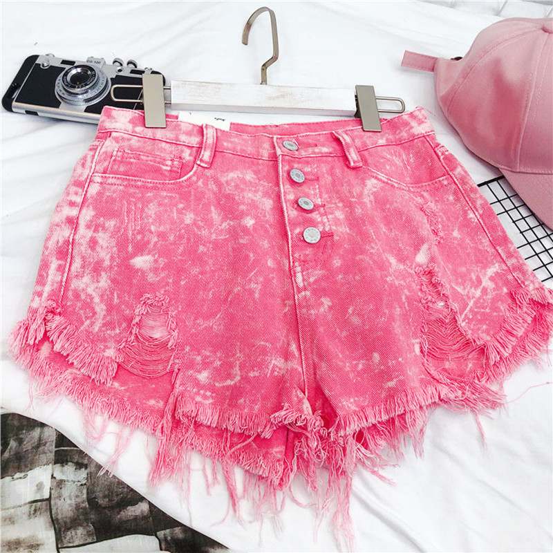 MUMUZI Fashion Front Buttons Shorts Women's Summer Pink High Waist Shorts 2020 Streetwear Feminino Shorts Bottom Jeans