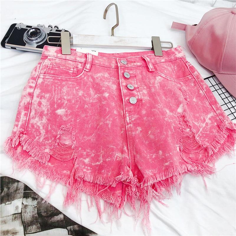 MUMUZI Fashion Front Buttons Shorts Women's Summer Pink High Waist Shorts 2020 Streetwear Feminino Shorts Bottom Jeans